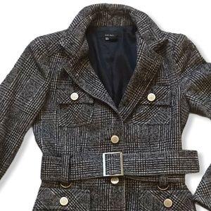 Zara Belted Grey Black Plaid Tweed Lined Wool Coat